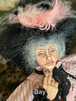 Vintage Miniature Dollhouse ARTISAN Sculpted Old Woman Victorian Crone Doll 112