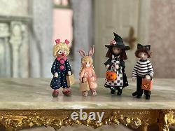 Vintage Miniature Dollhouse Artisan Julie Stevens Clay Halloween Figurines Decor