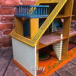 Vintage OKWA Wooden Dollhouse Netherlands 1974 Mid Century 3-Level Chalet 1970s