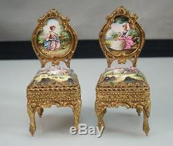 Vintage Porcelain Ormolu Brass Miniature Dollhouse Chairs & Sofa Settee 53553