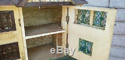 Vintage Tri-Ang Dollhouse English Tudor Style Tin Bay Windows 45x 11x 20
