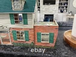 Vtg 1950 60's Marx Tin Two Story Dollhouse Breezeway Furniture REDUCED 2 SELL