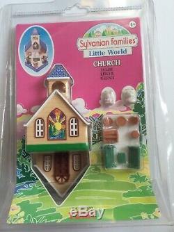 Vtg 1985 Tomy Sylvanian Families Little World Church Tiny Toy Set Nip