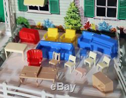Vtg Marx Colonial Dollhouse Playset Tin Litho Pool Breezeway Furniture Swing Set