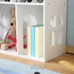 WODENY Dollhouse White Wooden Kids Bookshelf Bookcase 2021 Best Gift f/ Children