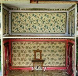 Wonderful Antique Gottschalk Blue Roof Dolls House, Original Condition