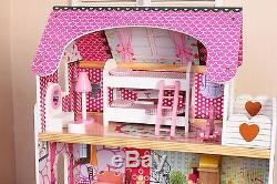 Wooden Dollhouse Large Barbie Play House with Furniture Accessories 17PCS