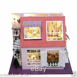 Wooden Dollhouse Miniatures DIY House Kit withLed Light Beach House Vacation house