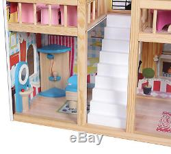 Wooden Dollhouse Toys Girls Dolls House Play Set With 17PCS Furniture Staircase