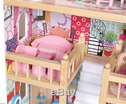 Wooden Dolls House Kids Doll House With 17PCS Furniture & Staircase