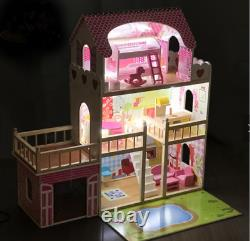 Wooden Dolls House for Girls, Large Dollhouse Toy for Kids with pool and lights