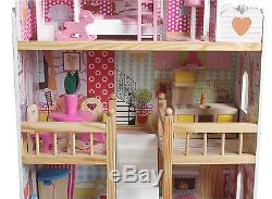Wooden Kids Doll House With 17PCS Furniture & Staircase Barbie Dollhouse