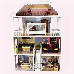 XXL Puppenhaus DREAM VILLA Barbiehaus Puppenhaus Puppenstube aus Holz mit Möbel
